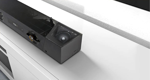 Close-up view of Dolby Atmos enabled speakers
