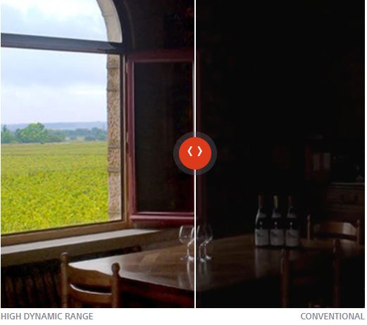 Comparison between HDR and with HDR is carried out on a picture of viewing from a room of a field.