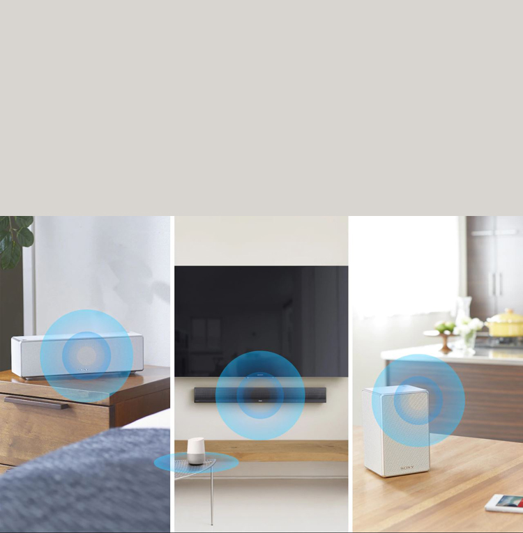 Three devices are playing the smae music in different rooms.