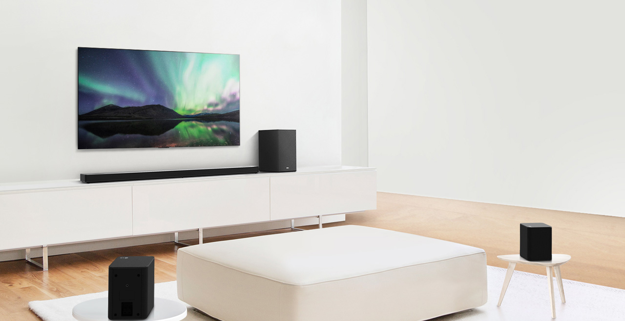 The sound bar and subwoofer are paired with two rear speakers