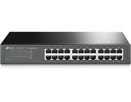 Product Image Front View: 24-Port Gigabit Desktop/Rackmount Switch