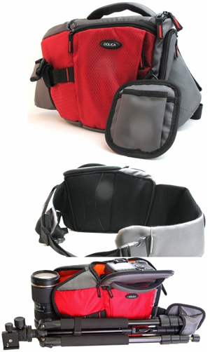 DOLICA SB-015RD Red Professional DSLR/ Mirrorless ILC Sling Bag ...