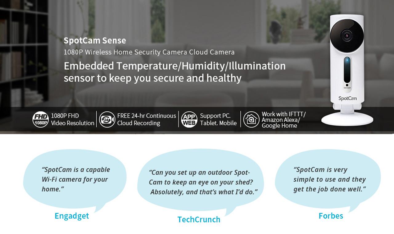 SpotCam Sense Wireless Home Security Camera, 1080p HD, Indoor, Night