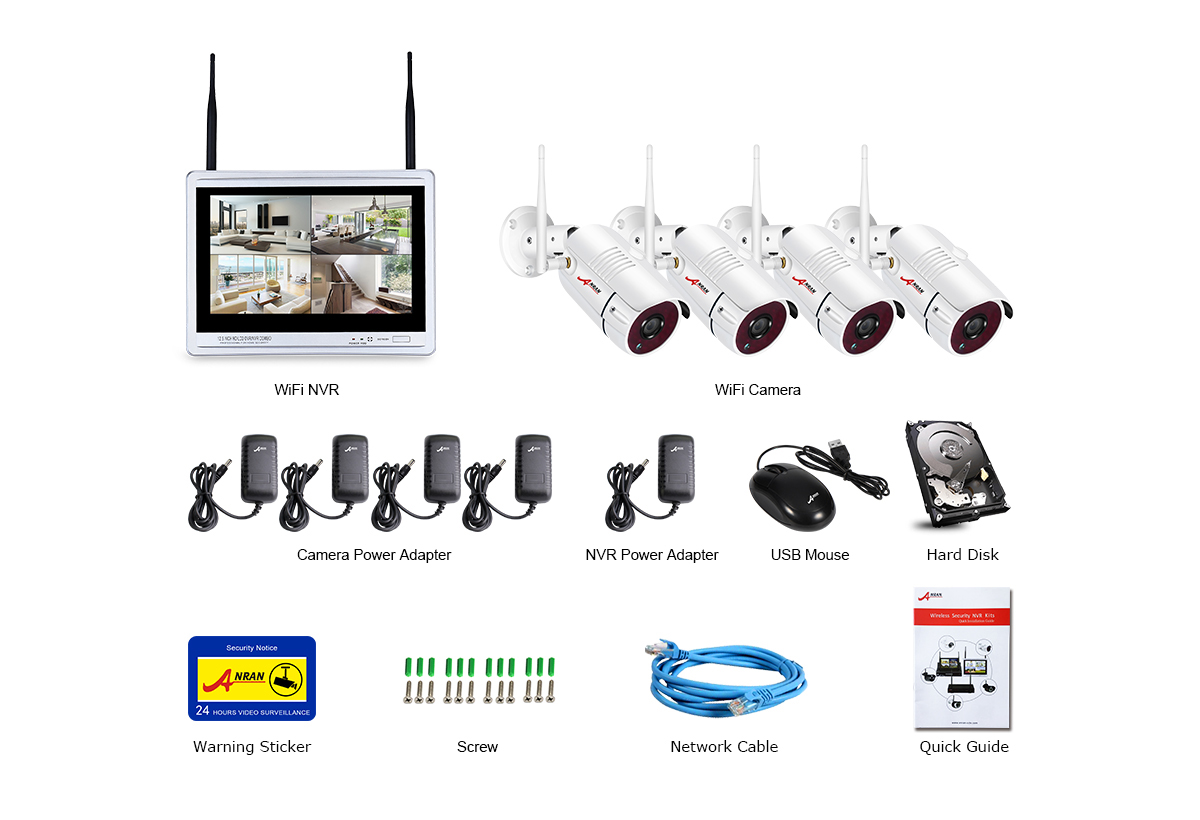 ANRAN 4CH HD 1080P Wireless Security DVR NVR with 12
