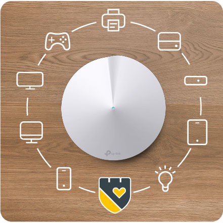 Overhead view of the TP-Link Deco 5 with Icons of Electronics Devices Surrounding It