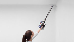 Model with Dyson V8 Animal vacuum
