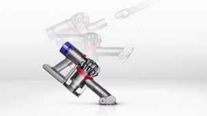 The Dyson V8 Animal transforms to a handheld in one click.