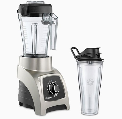 The Vitmaix Blender with its extra container, both facing slightly to the right
