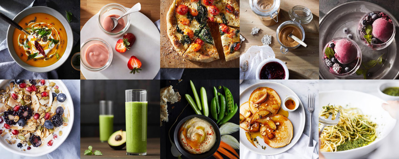 A collection of images showing the different foods that can be made with the blender, such as soups and smoothies