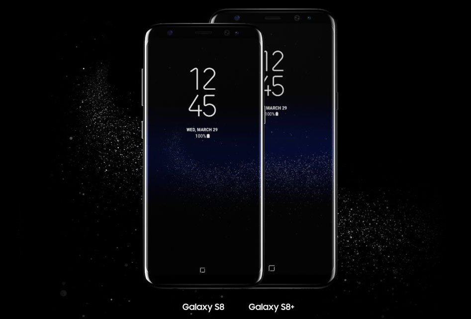 A Samsung Galaxy S8 and Galaxy S8+ phone facing forawrd, the S8 is in front of the taller S8+, both phones are showing the time, date and battery percentage along with an image of stars in space as the background