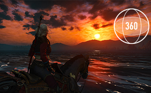 Gorgeous game scene of a knight on a horse looking at the rising sun. At the top right corner is a circle with number 360 in it