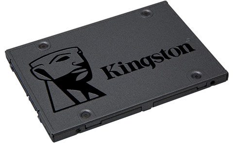 A Kingston Q500 SSD facing upward