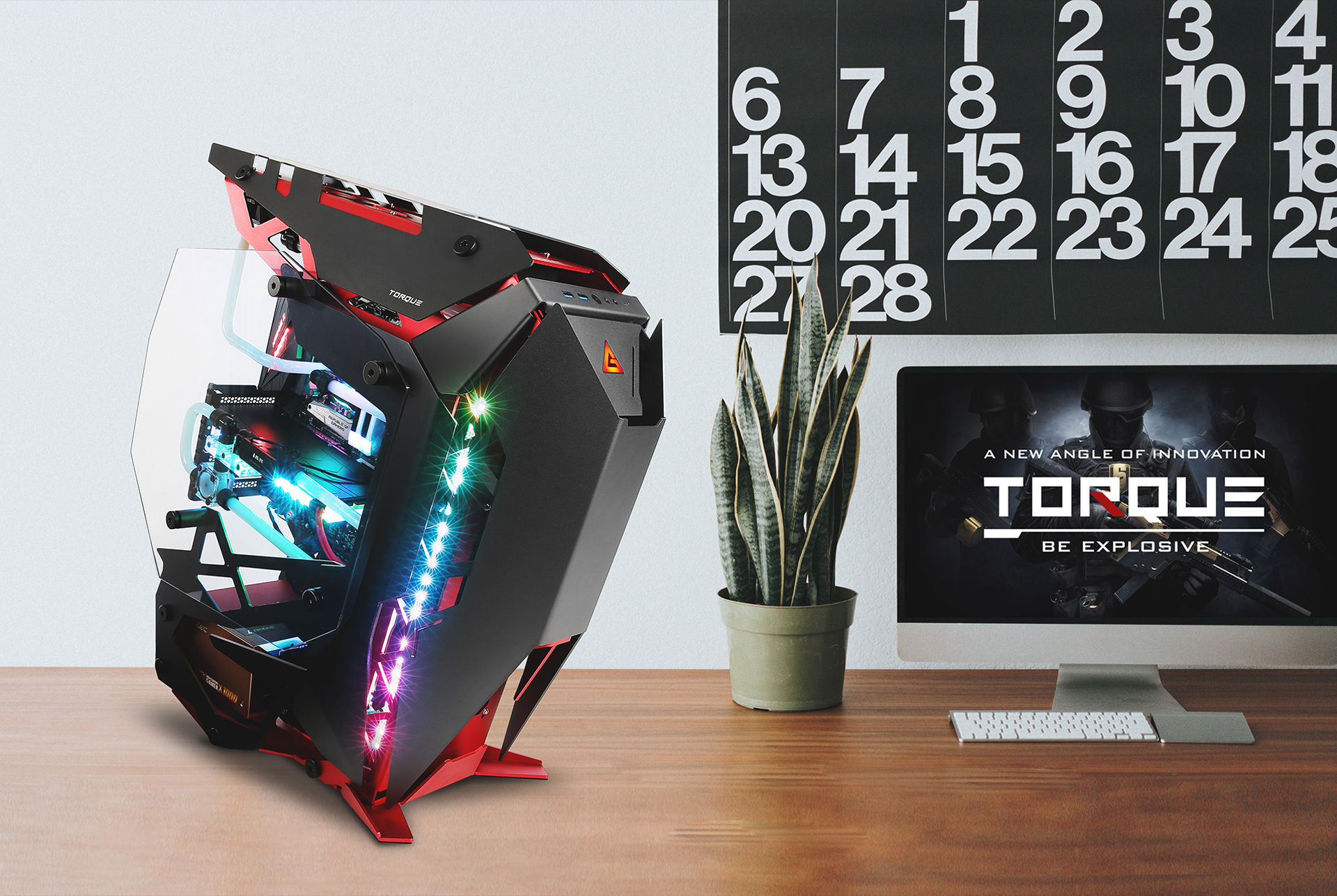 Antec TORQUE On a Wooden Desk With an iMac looking small in the background