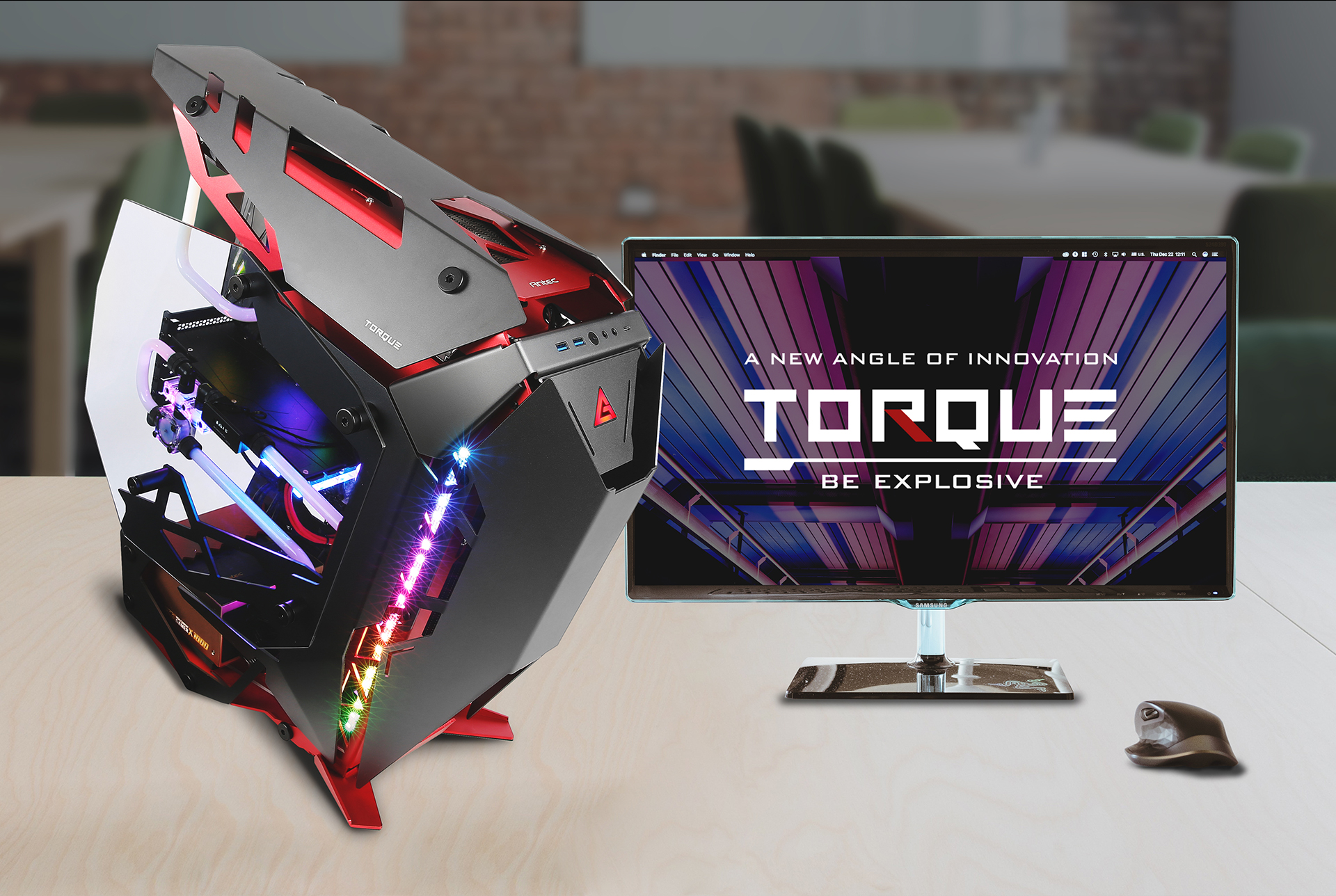 Antec TORQUE with a mouse and monitor that reads A NEW ANGLE OF INNOVATION - TORQUE - BE EXPLOSIVE