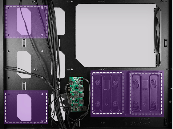 Overhead view of the Antec Dark Avenger DA601 Computer Case's Interior Laying Flat with Purple and white graphics indicating where 4 SSDs can be installed
