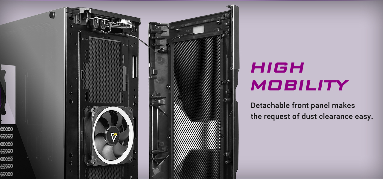 Antec Dark Avenger DA601 Computer Case facing to the right with its front panel removed. There is text that reads: HIGH MOBILITY, Detachable front anel makes dust clearance easy