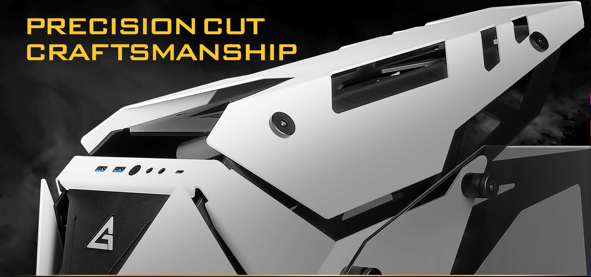 Closeup of the Top of the Antec Case, Angled to the Left. Above It Is Text That Reads: PRECISION-CUT CRAFTSMANSHIP