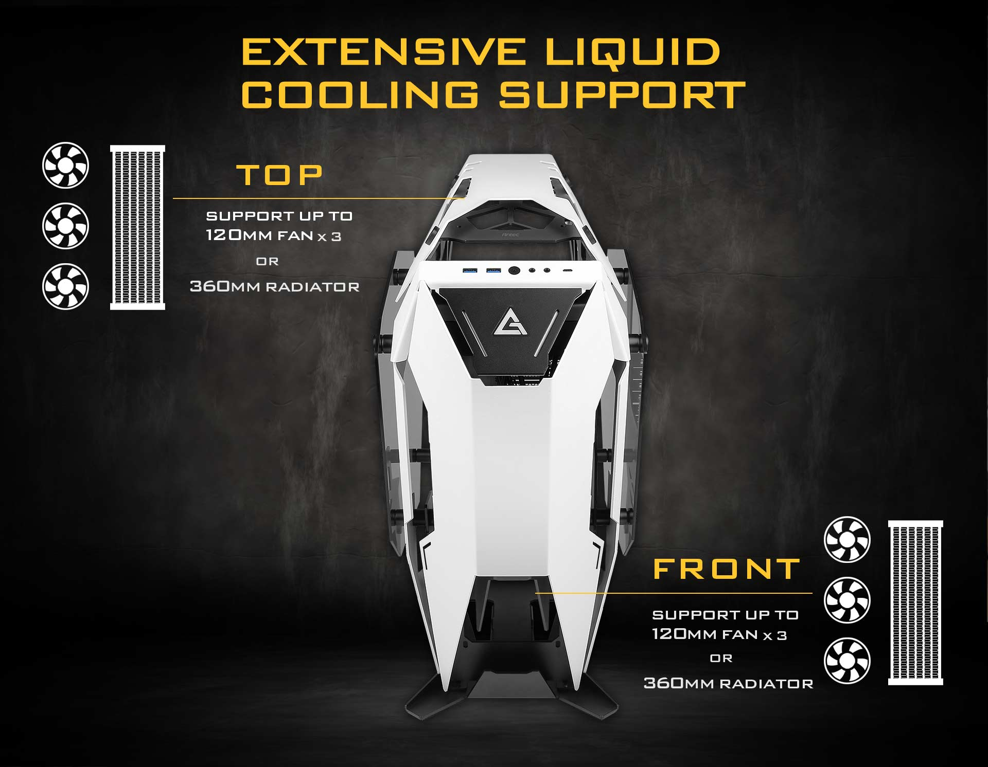 Antec Torque Facing Forward with a header that reads: EXTENSIVE LIQUID COOLING SUPPORT - There are also graphics and text that indicate up to three 120mm fans or a 360mm radiator on and up to three 120mm fans or a 360mm radiator can be installed in front