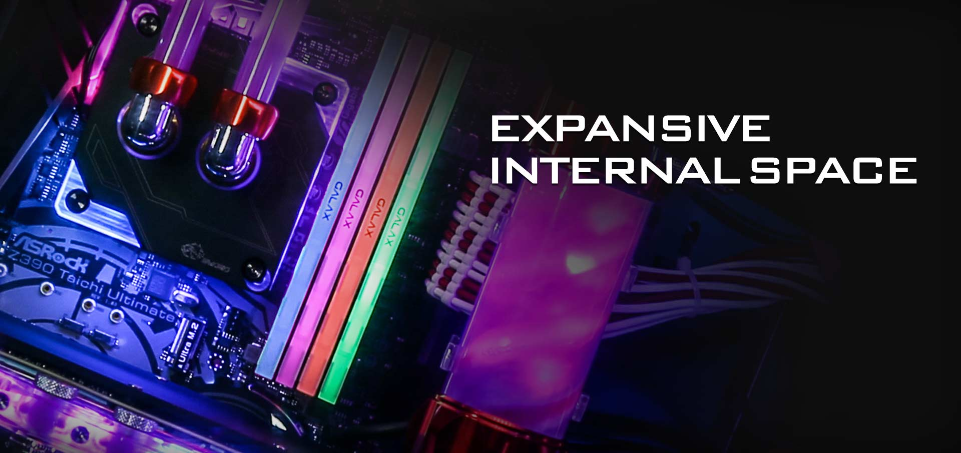 Closeup of a Water-Cooled CPU on a Motherboard Next to RGB-Lit Memory. Header Text Reads: EXPANSIVE INTERNAL SPACE