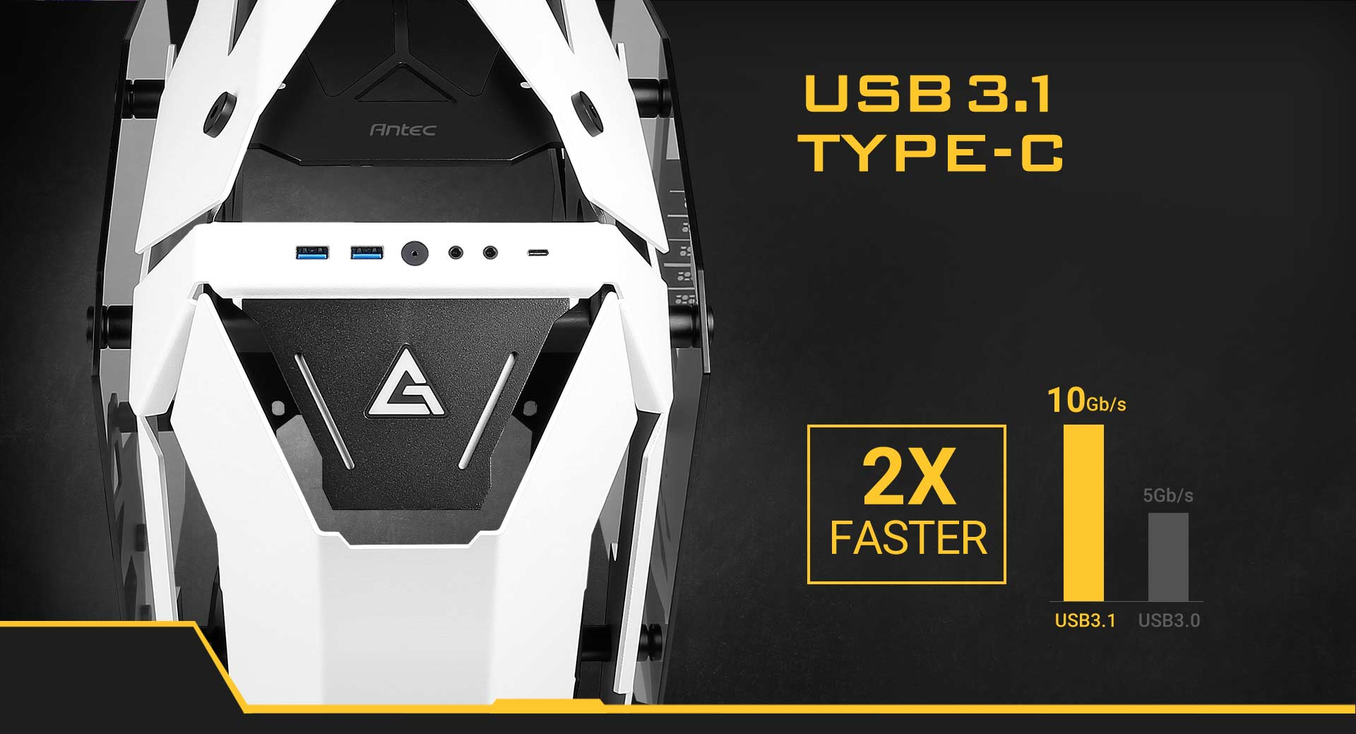 Antec Torque Closeup Facing Forward. There is text that reads: USB 3.1 TYPE-C and a Graph That Shows USB 3.1 is 2 Times Faster than USB 3.0