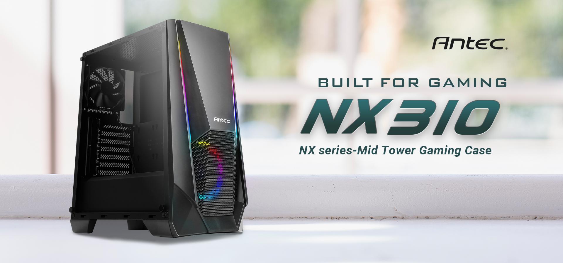 Antec logo and Antec NX Series NX310, Mid Tower ATX Gaming Case facing forward