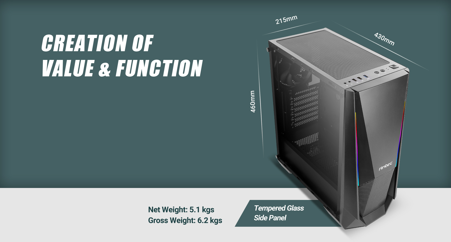 NX Series NX310 Mid Tower ATX Gaming Case Length, width and height