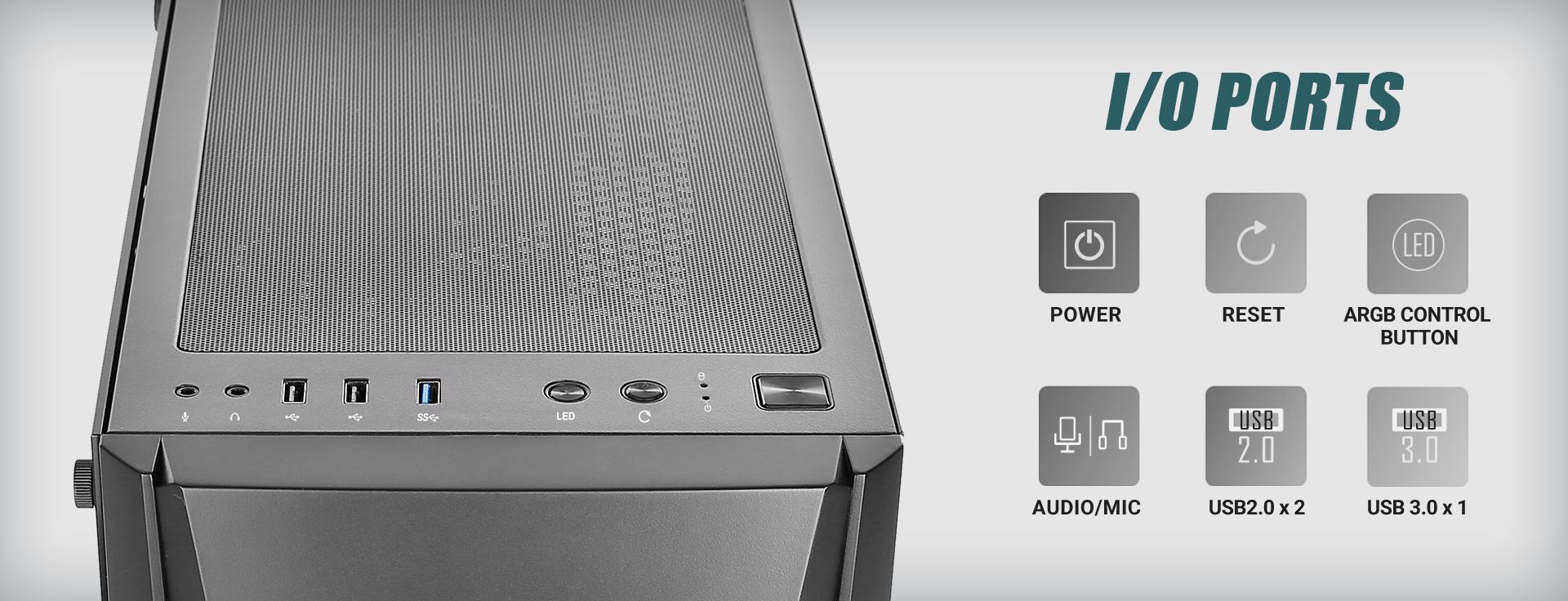 NX Series NX310 Mid Tower ATX Gaming Case I/O ports close-up and power icon, Reset icon, Argrgb control button icon, Audio/Mic icon, USB 2.0 x 2 iconUSB 3.0 x 1 icon