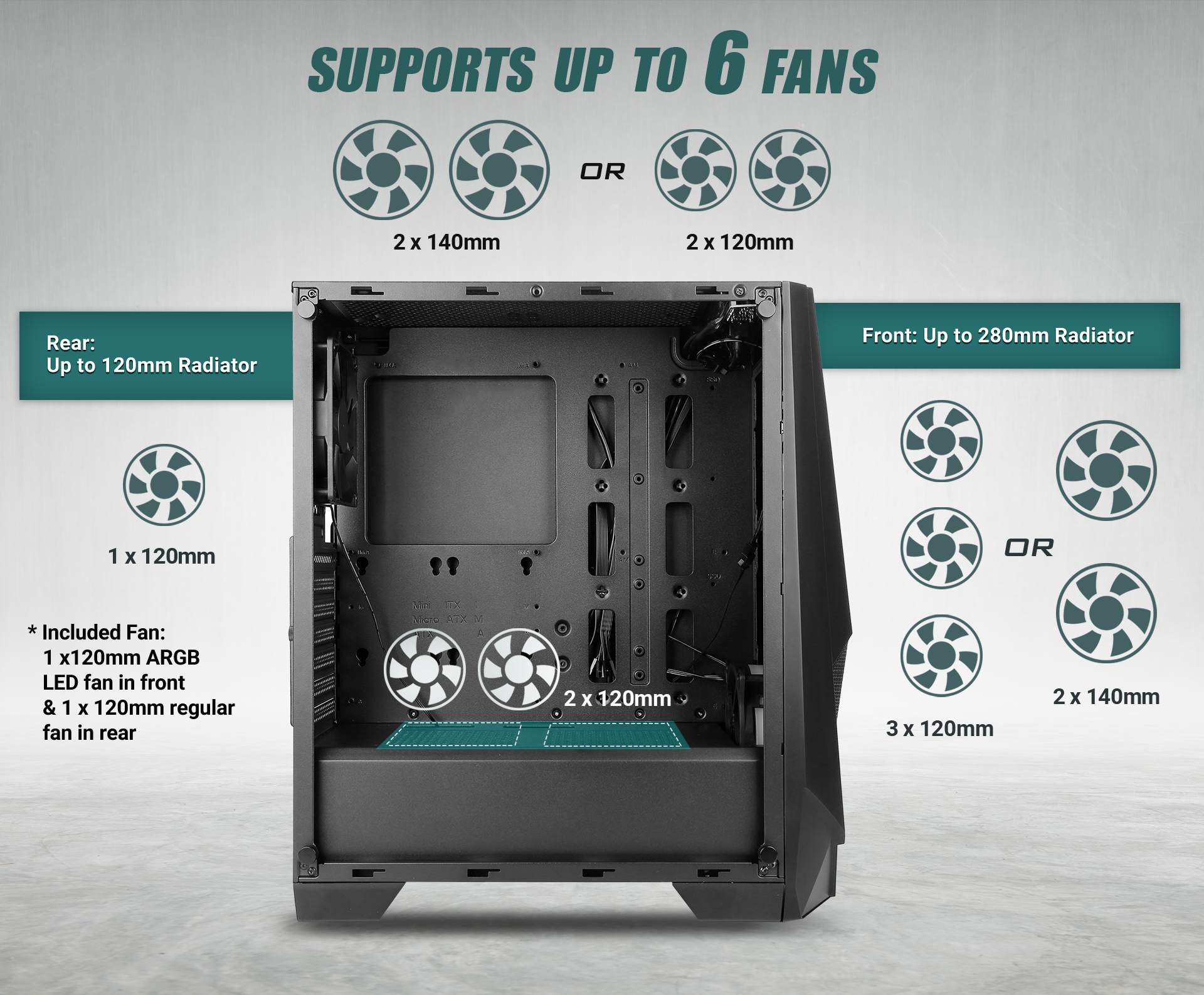 NX Series NX310 Mid Tower ATX Gaming Case supports fan specifications and installation location