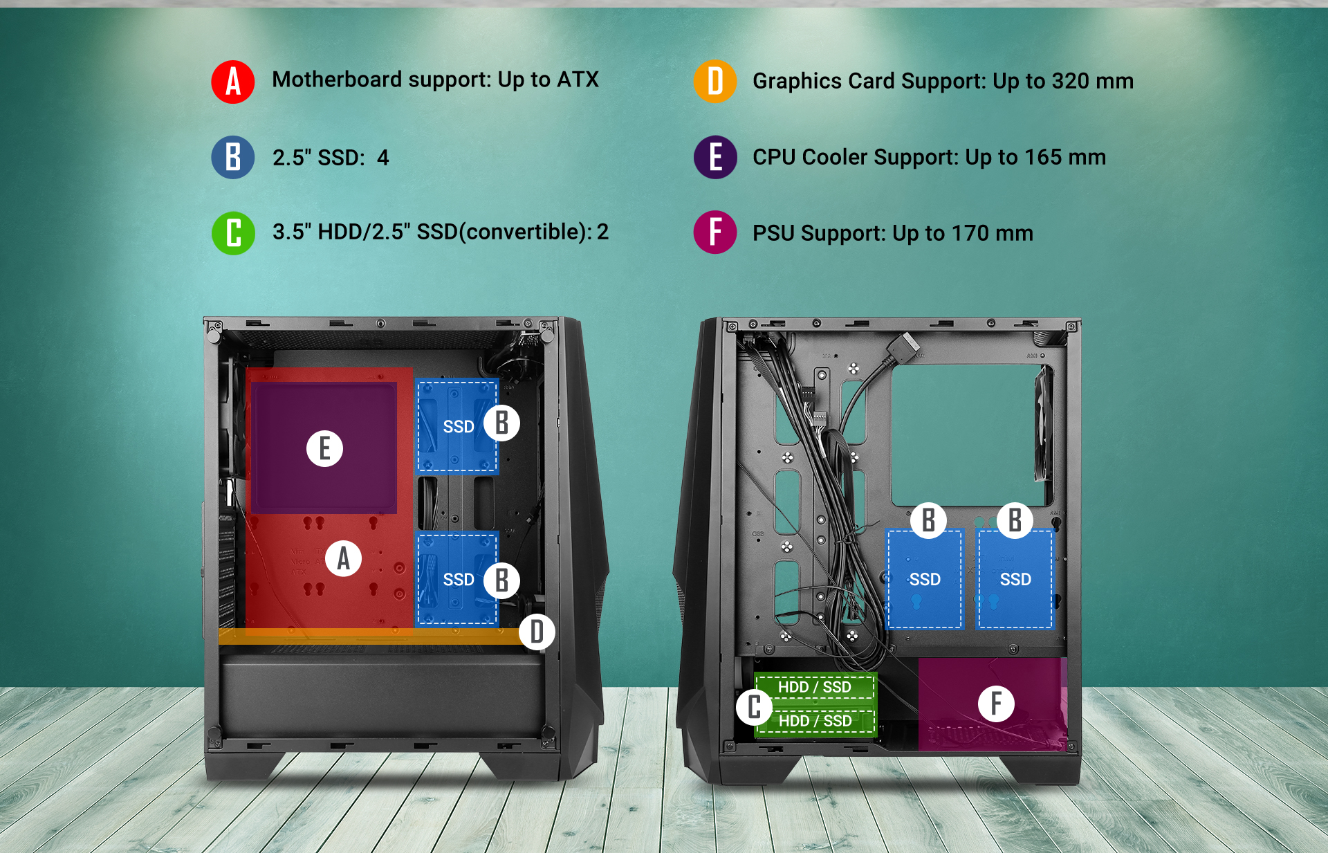 NX Series NX310 Mid Tower ATX Gaming Case supports the SSD specifications and installation location