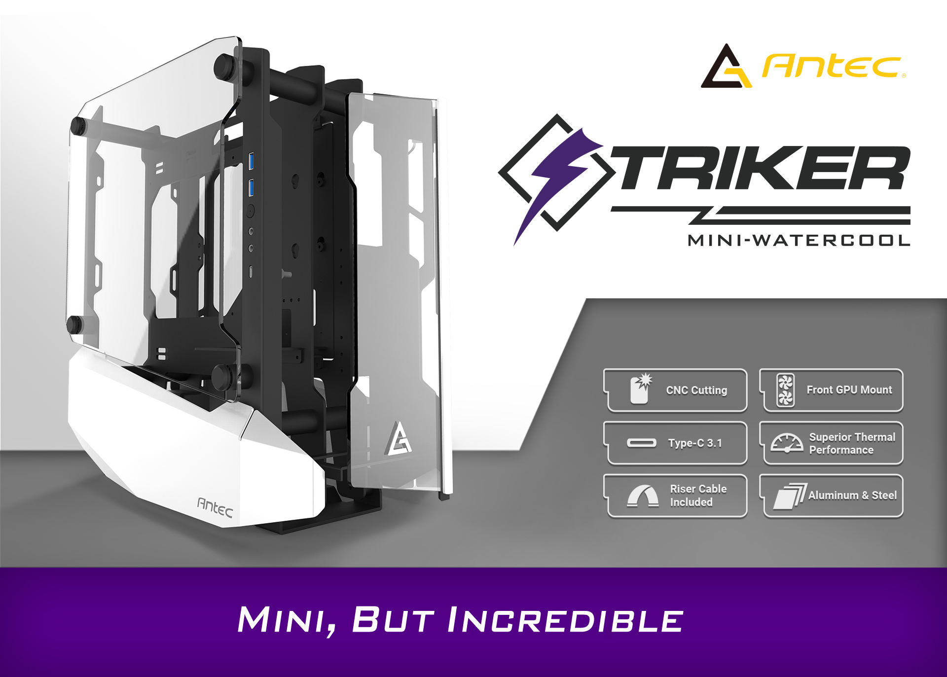 Antec STRIKER Aluminum and Steel ITX Computer Case side view and Antec logo