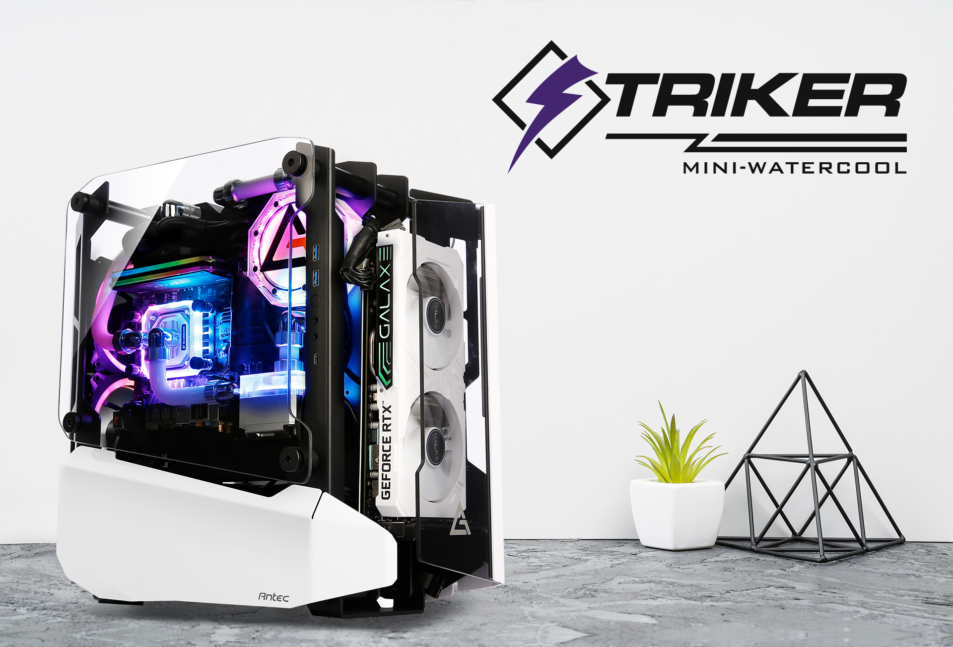 Antec STRIKER Aluminum and Steel ITX Computer Side view and RRIKER MINI-WATERCOOL icon