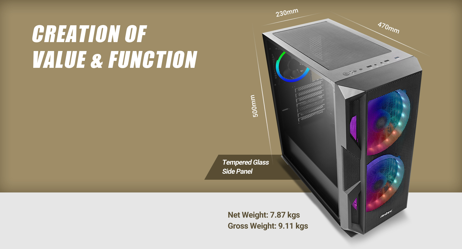 Antec NX800 MX series-Mid Tower Gaming Case Length, width and height