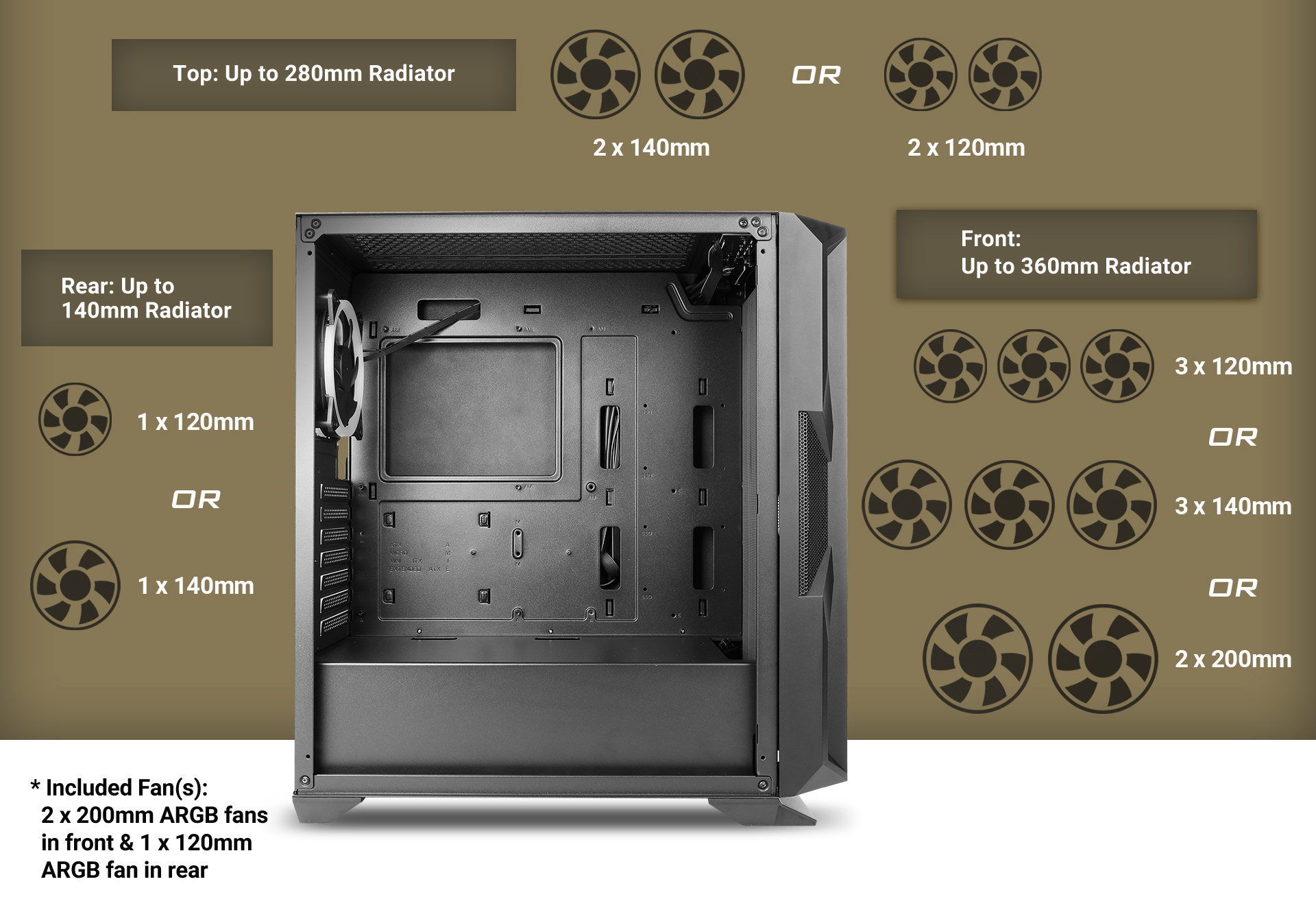 Antec NX800 MX series-Mid Tower Gaming Case supports fan specifications and installation location