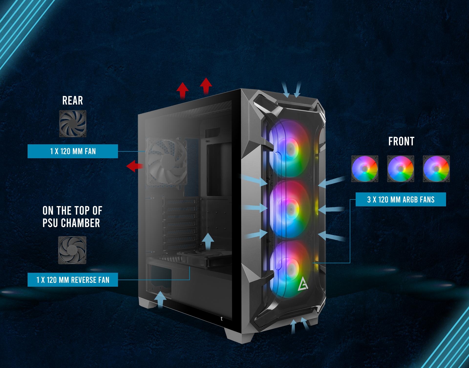 Antec Dark League DF600 FLUX, Mid Tower ATX Gaming Case