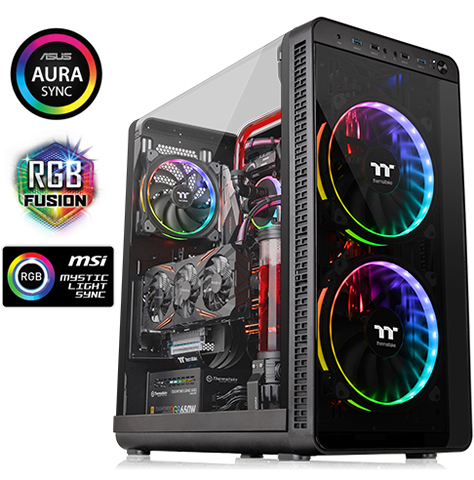 Thermaltake View 37 RGB E ATX Mid Tower Gaming Computer Case with 3 Ring  Plus RGB Fans Pre installed