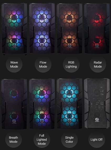 Eight instances of front-facing, RGB-lit Thermaltake Commander C33 cases and text below them that reads: Wave Mode, Flow Mode, RGB Lighting, Radar Mode, Breath Mode, Full Lighted Mode, Single Color and Light Off