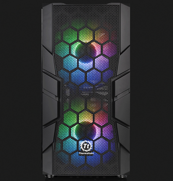 Thermaltake Commander C33 facing forward with two rainbow-lit fans