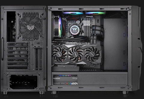 A back shot and side shot of the Thermaltake Commander C33 with the side panel removed and components fully installed