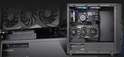 Thermaltake Commander C33 with its side panel removed and components fully installed, the background is a closeup of the case's interiors with the graphics card and power supply closest to the viewer