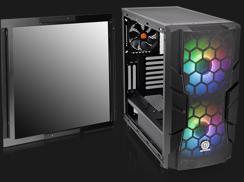 Thermaltake Commander C33 facing forward slightly to the right with its tempered-glass side panel removed