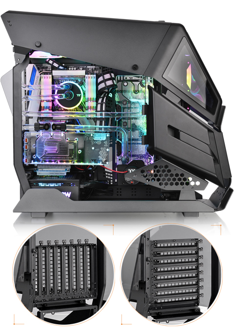 Vertical GPU Mount and Patented Rotational PCI-E 8 Slot
