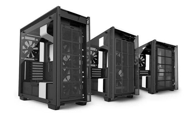 Three Different Sizes of the NZXT H700 Angled to the Right