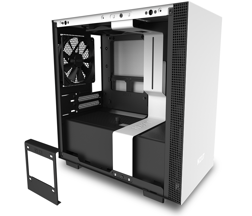 NZXT H210 Mini-ITX Case Facing to the Right with Its Side Panel Removed and Radiator Mounting Bracket Removed, Floating Next to the Case> </div> <div class=