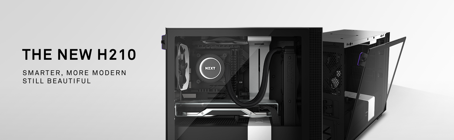 NZXT H Series H210 Mini-ITX Tower Computer Cases, One Facing to the Side Fully Loaded with Components and the Other Facing Away to the Right with Its Tempered-Glass Side Panel Coming Down. There is also text that reads: THE NEW H210 - SMARTER, MORE MODERN—STILL BEAUTIFUL
