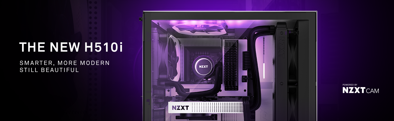 NZXT H Series H510i CA-H510i-W1 Case Facing to the Right, Fully Loaded with Components and Text That Reads: THE NEW H510i - Smarter, More Modern—Still Beautiful