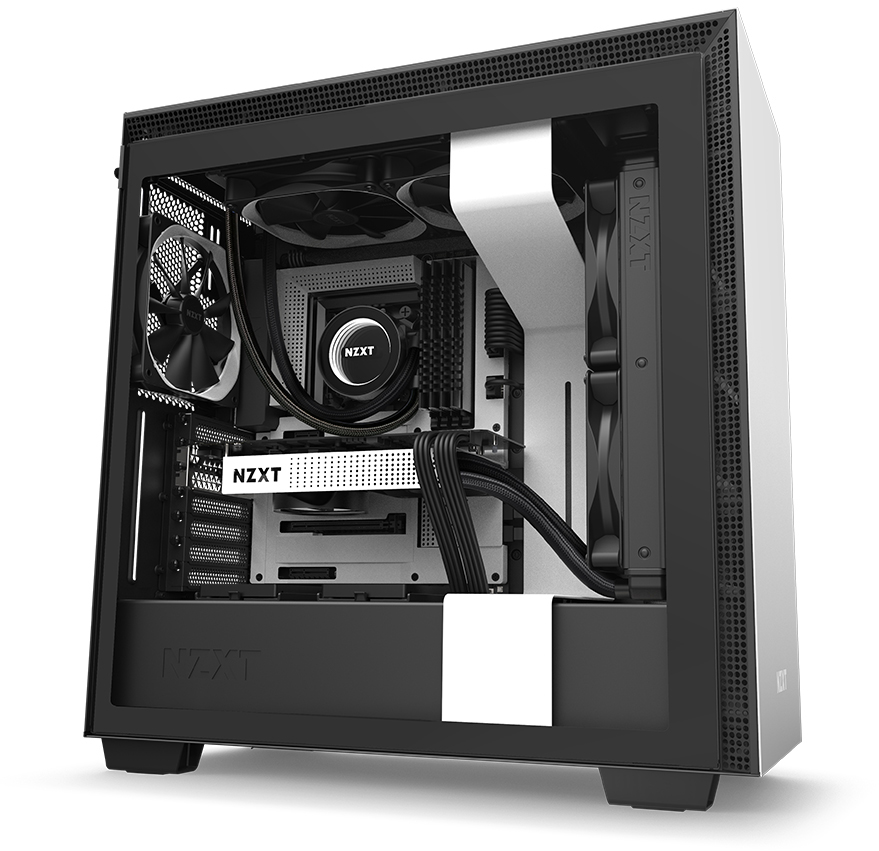 NZXT H Series H710 CA-H710B-B1 Case Angled to the Right, Fully Loaded with Components