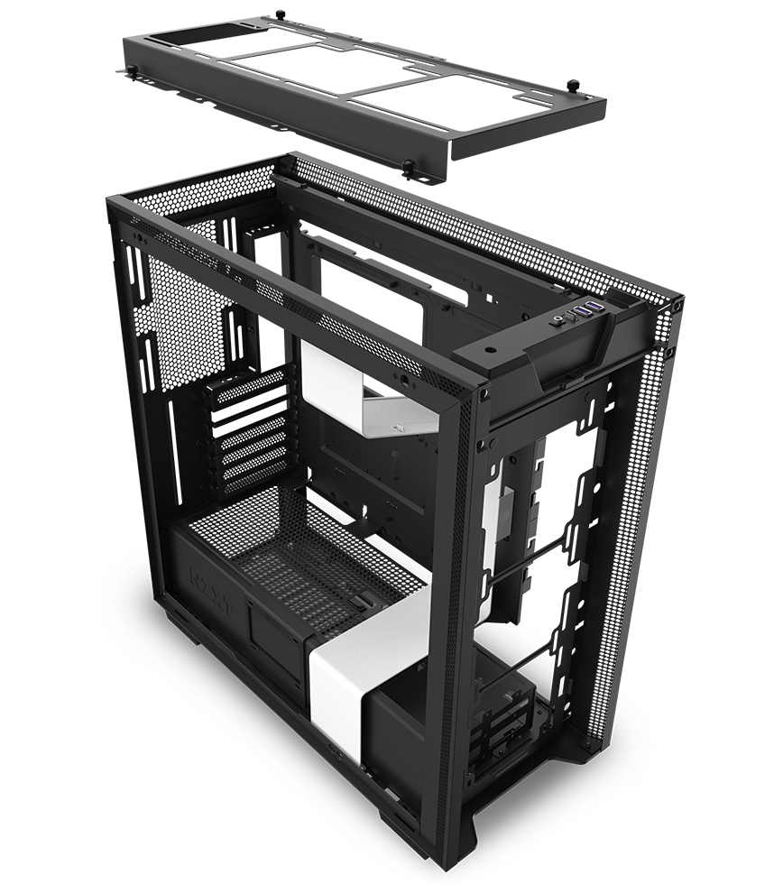NZXT H710 Case Facing Away to the Left, with All Its Pieces Removed Floating Next to Each Other