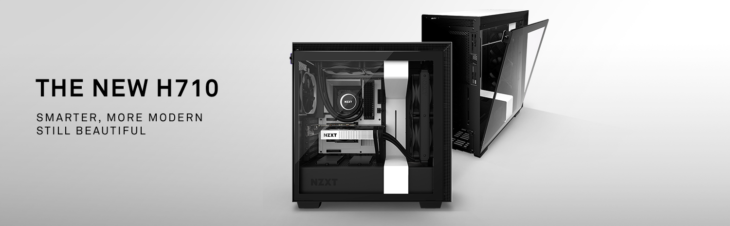 NZXT H Series H710 CA-H710B-B1 Cases, One Facing to the Side Showing off Its Fully Loaded Components, and the Other Behind, Facing Away to the Right with Its Tempered-Glass Side Panel Coming Down. There Is Also Text That Reads: THE NEW H710 - SMARTER, MORE MODERN—STILL BEAUTIFUL