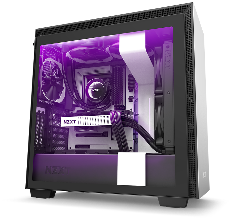 NZXT H210 Mini-ITX Case Facing to the Right, Fully Loaded with Components