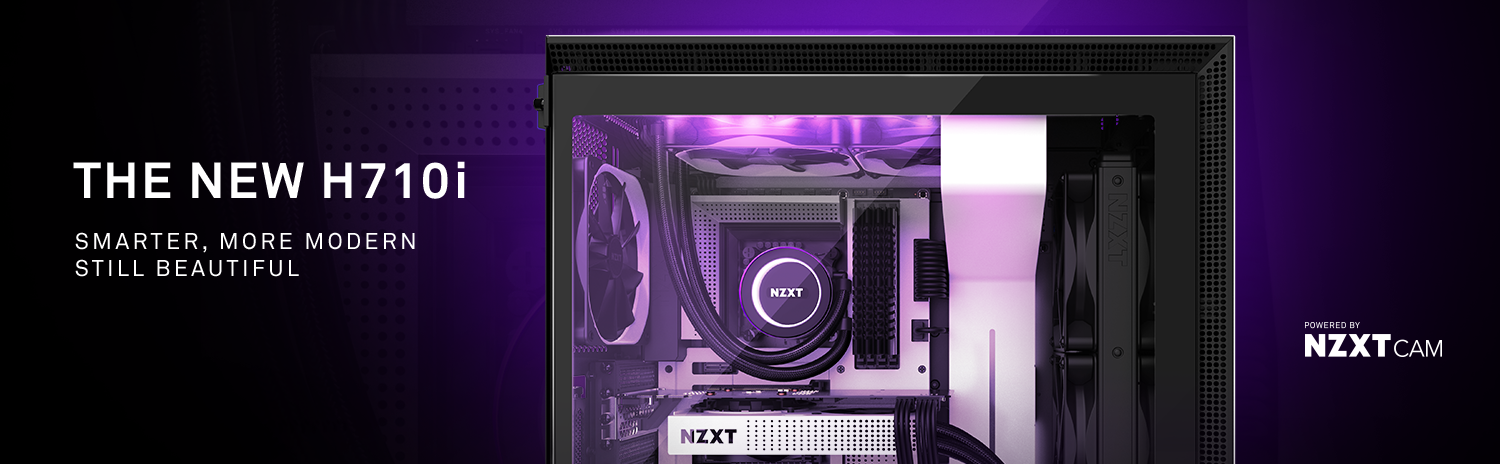 NZXT H Series H710i ATX Mid Tower Computer Case Facing to the Right, Fully Loaded with Components, Along with Text That Reads: THE NEW H710i - Smarter, More Modern—Still Beautiful